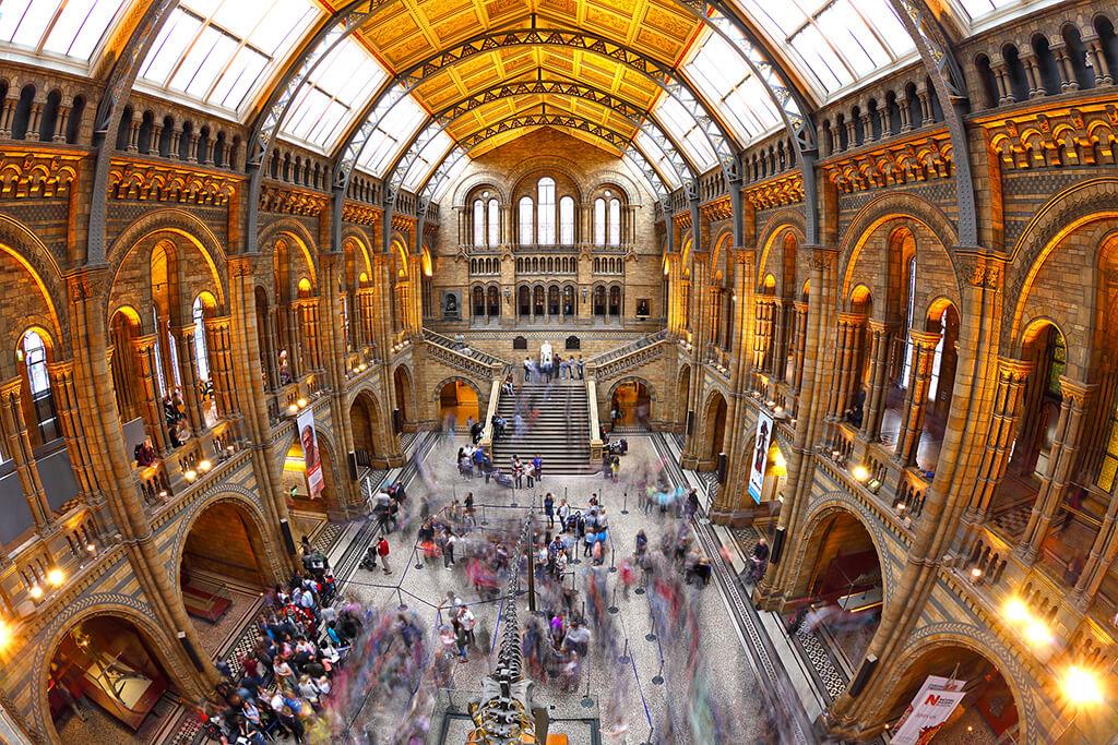 Nádherný historický interiér obrovskej sály prírodopisného múzea s ľudmi, kostrou dinosaura zakončený schodami.